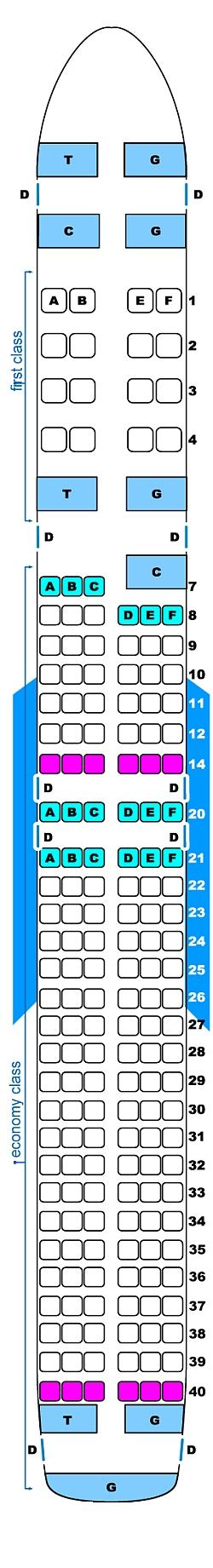Seat map for Continental Airlines Boeing B757 200