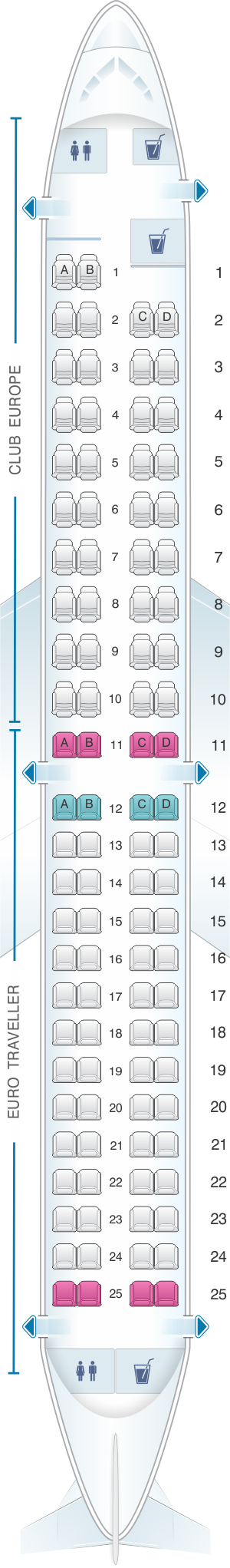 Seat map for British Airways Embraer 190 European