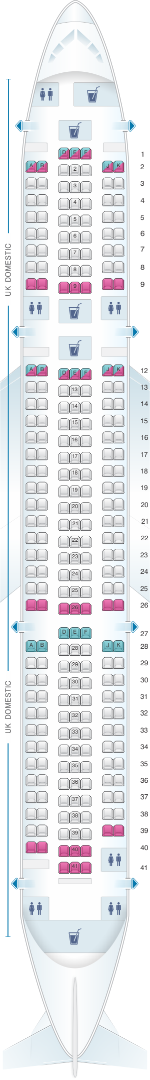 Seat map for British Airways Boeing B767 Domestic Layout