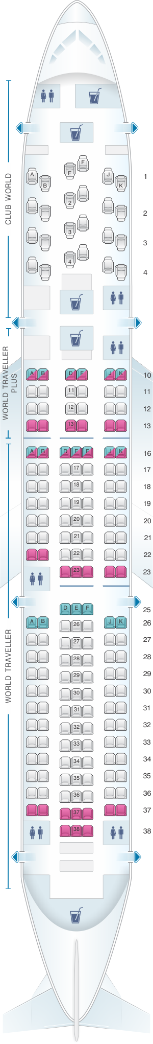 Seat map for British Airways Boeing B767 Worldwide Layout