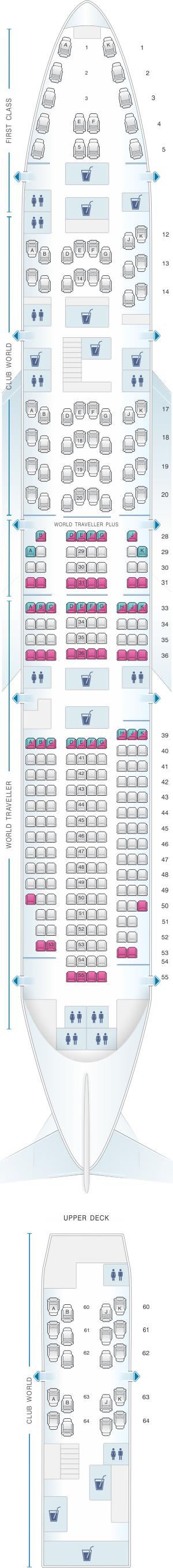 Seat map for British Airways Boeing B747 400 299PAX