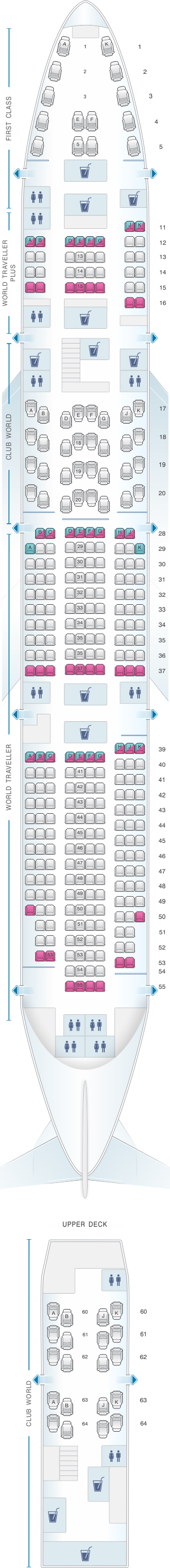 Seat map for British Airways Boeing B747 400 345PAX