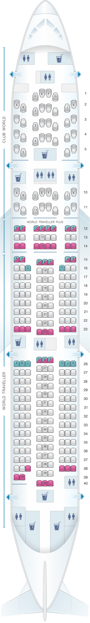 Seat map for British Airways Boeing B777 200 three class