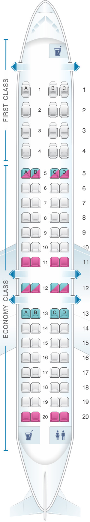 Seat map for ExpressJet Airlines CRJ 900