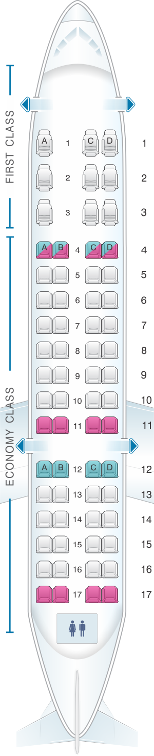 Seat map for ExpressJet Airlines CRJ 700