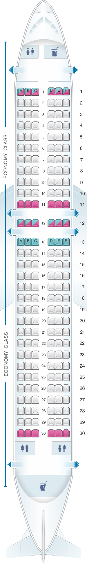 Seat map for Jetstar Airways Airbus A320 180pax