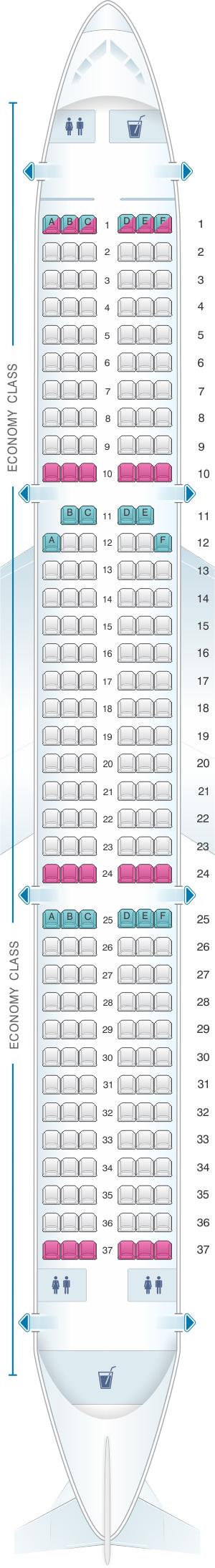 Seat Map Jetstar Airways Airbus A321 220pax SeatMaestro - Us Airways A321 Seat Map