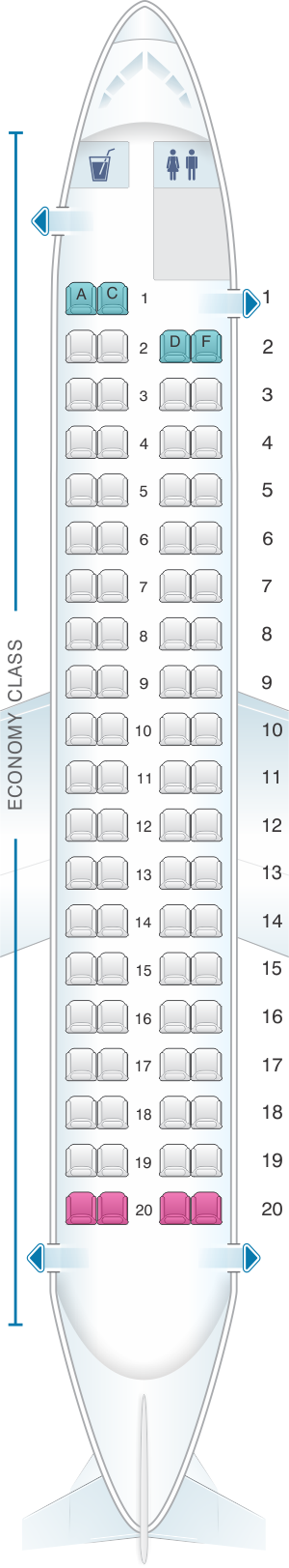 Seat map for SpiceJet Bombardier Q400