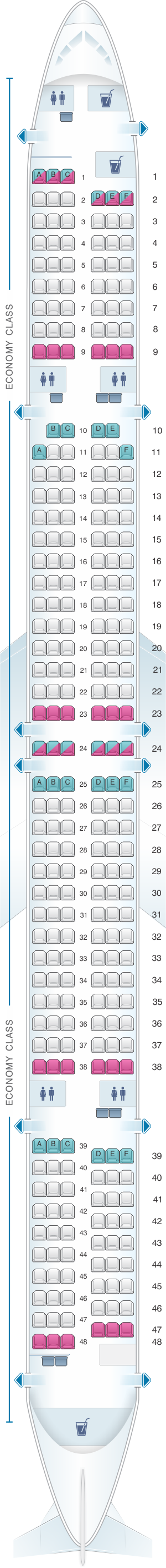 Seat map for Thomas Cook Airlines Boeing B757 300