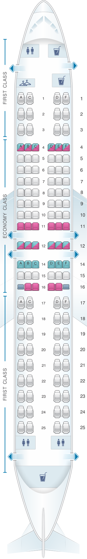 Seat map for Miami Air Boeing B737 800 Config. 1