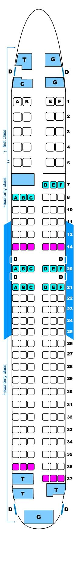 Seat map for Continental Airlines Boeing B737 800 (20/132)