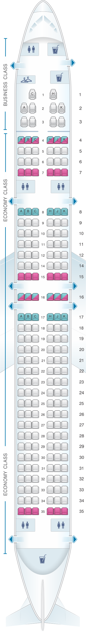 Seat map for Blue Panorama Boeing B757 200