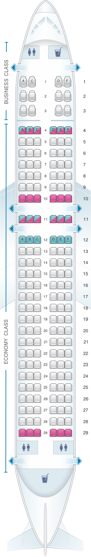 Seat map for Brussels Airlines Airbus A320