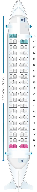 Seat map for Ethiopian Q400