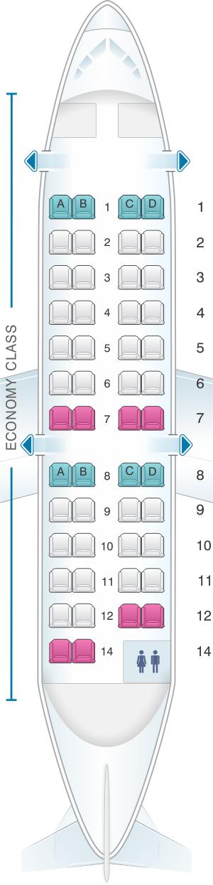 Seat map for Nova Airways CRJ 200