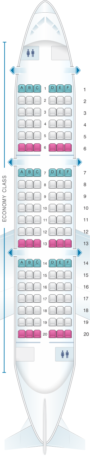 Seat map for Saravia YAK 42 120pax
