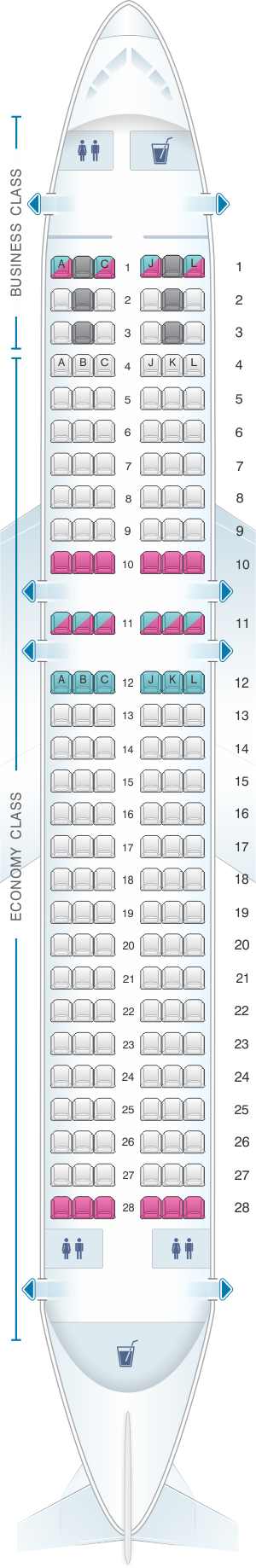 Seat map for LATAM Airlines Airbus A320 200 V2