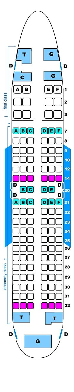Seat map for Continental Airlines Boeing B737 700