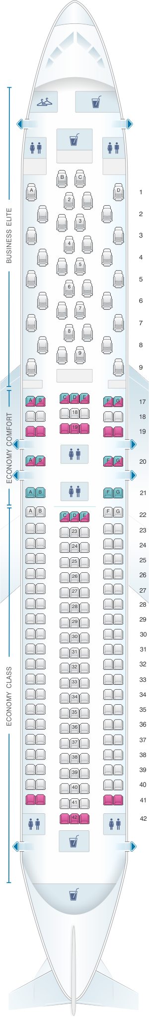 Seat map for Delta Air Lines Boeing B767 300ER (76T)