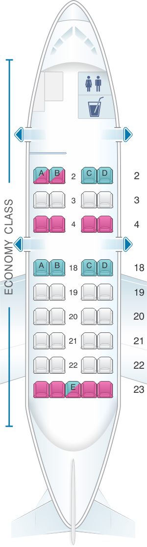 Seat map for United Airlines Bombardier Q200 (DH2)