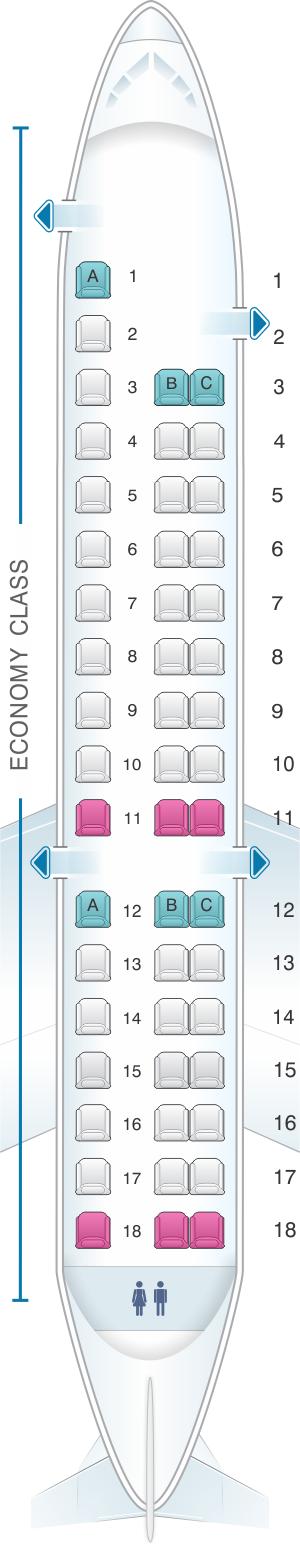 Seat map for ExpressJet Airlines Embraer ERJ145 v1