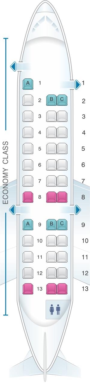 Seat map for ExpressJet Airlines Embraer ERJ135 v1