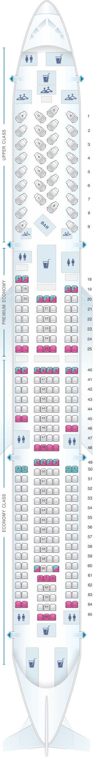 Seat map for Virgin Atlantic Airbus A330 300
