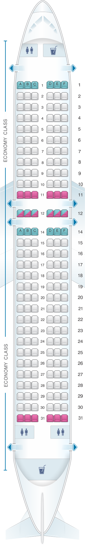 Seat map for Vueling Airbus A320