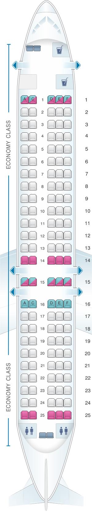 Seat map for QantasLink Boeing B717 200 125PAX