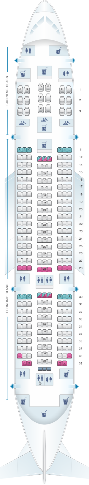 Seat map for Air India Boeing B787 Dreamliner