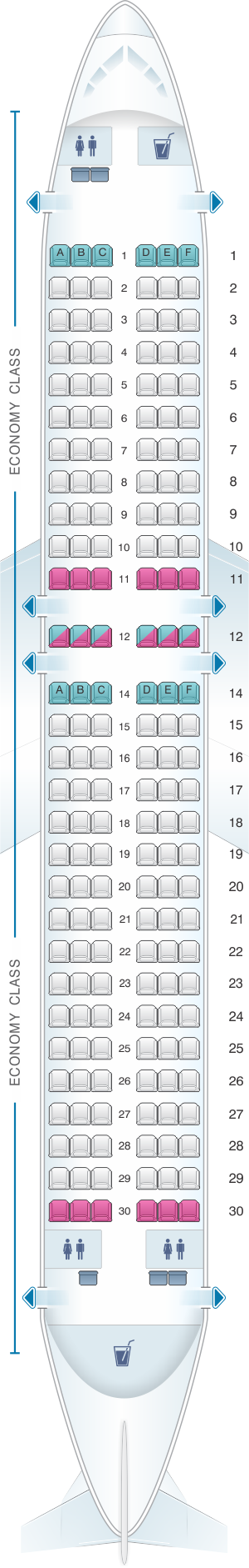 Seat map for Kingfisher Airlines Airbus A320 200 174PAX