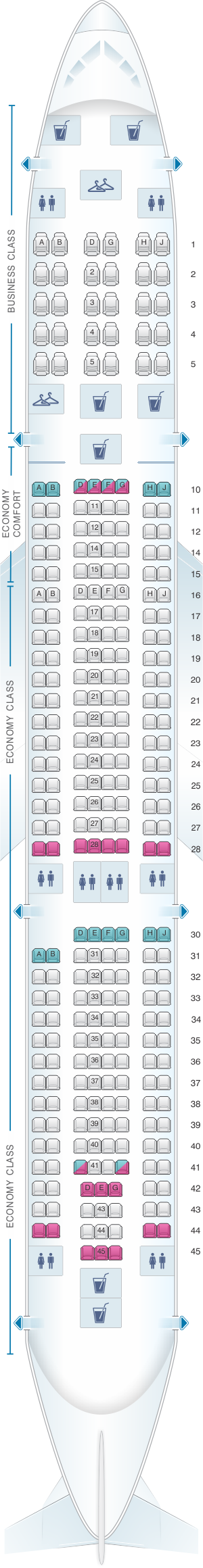 Seat map for KLM Airbus A330 300