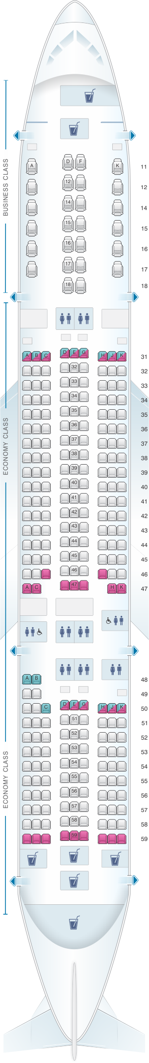 Seat map for Singapore Airlines Boeing B777 200ER refitted layout