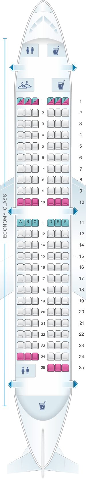 Seat map for Scandinavian Airlines (SAS) Boeing B737 700