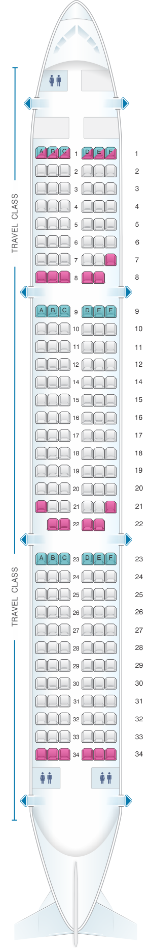 Seat map for Asiana Airlines Airbus A321 200 195PAX
