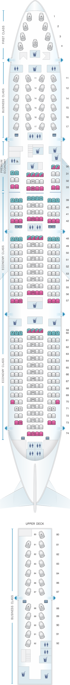 Seat map for Cathay Pacific Airways Boeing B747 400 (74K)