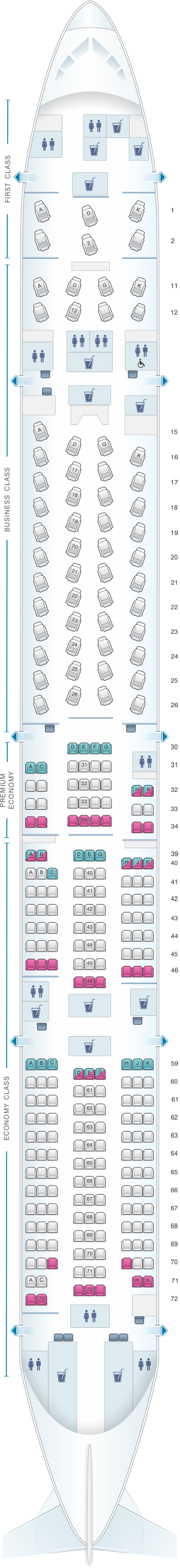 Seat map for Cathay Pacific Airways Boeing B777 300 (77H)
