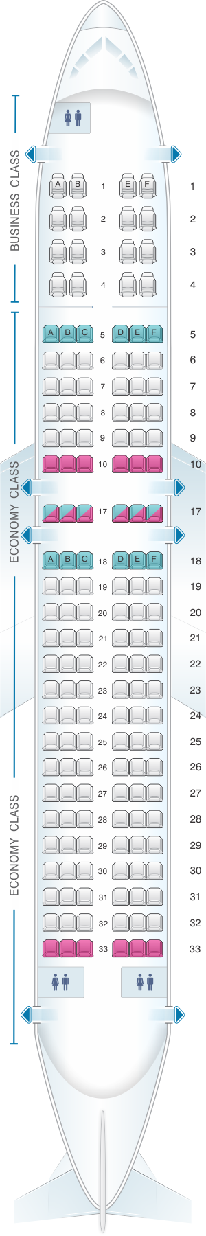 Seat map for Copa Airlines Boeing B737 800B