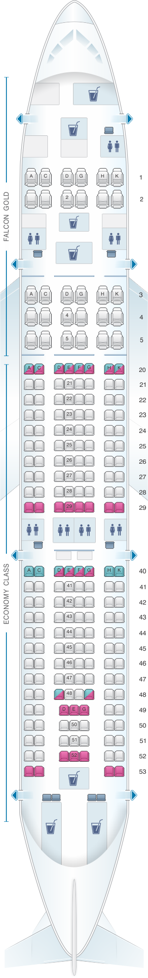 Seat map for Gulf Air Airbus A330 200 B