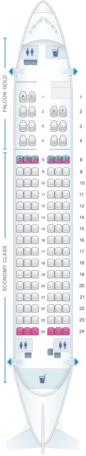 Seat map for Gulf Air Airbus A320 ER