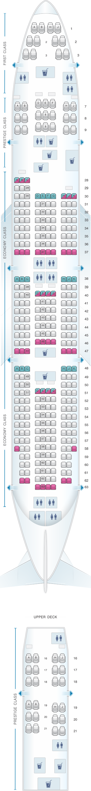 Seat map for Korean Air Boeing B747 400 365PAX