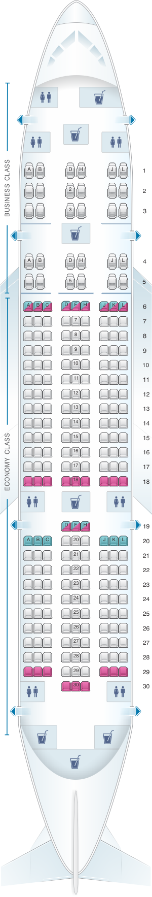 Seat map for LATAM Airlines Boeing B787-8