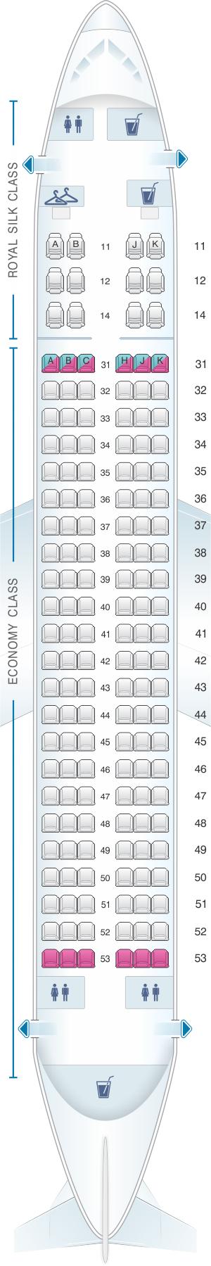 Seat map for Thai Airways International Boeing B737 400