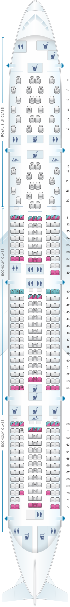 Seat map for Thai Airways International Boeing B777 300ER