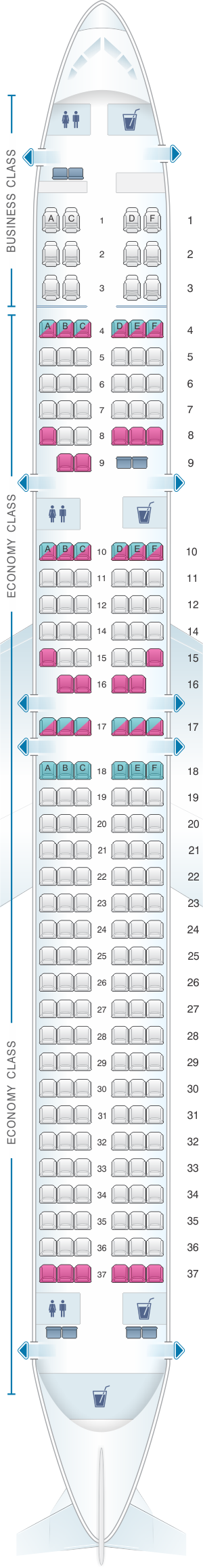 Seat map for Xiamen Airlines Boeing B757 200 204pax