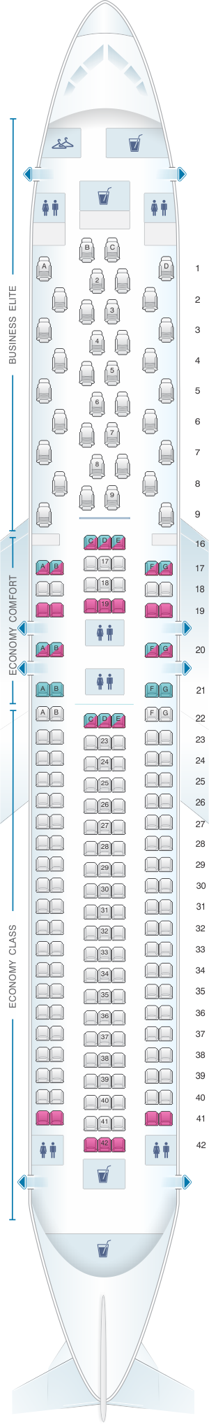 Seat map for Delta Airlines Boeing B767 300 (76L)