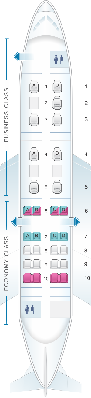 Seat map for Air Izhavia Tupolev Tu134