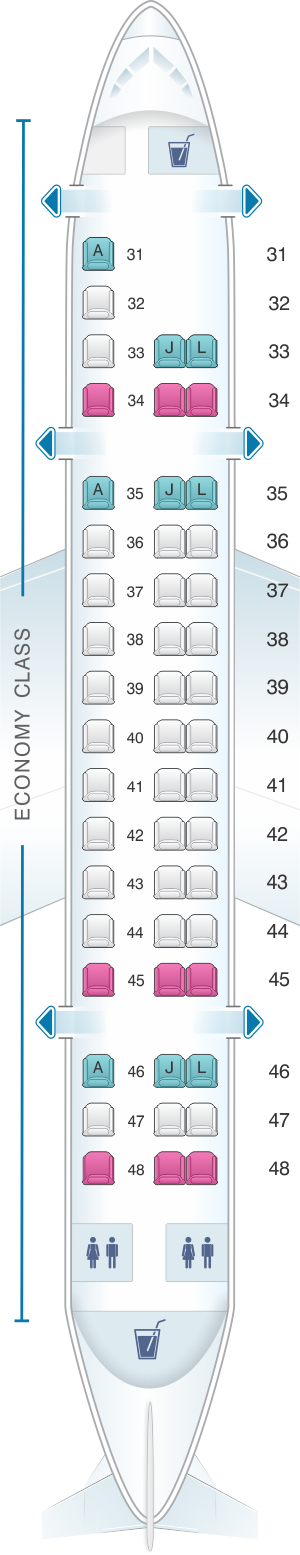 Seat map for China Eastern Airlines Embraer EMB145