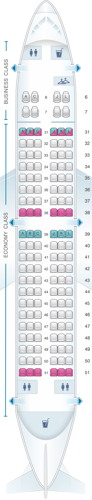 Seat map for China Eastern Airlines Boeing B737 700 134PAX