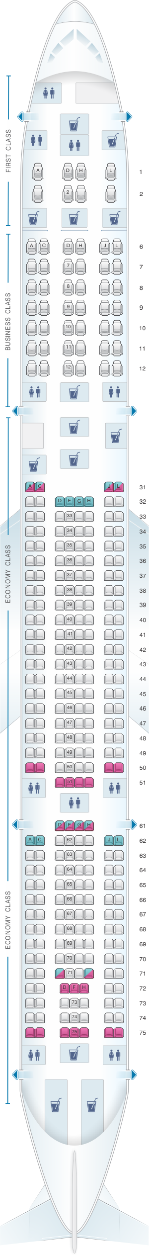 Seat map for China Eastern Airlines Airbus A340 600